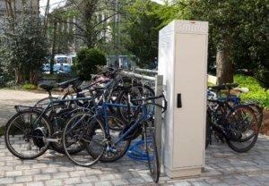 smide-Ladestation für E-Bikes mit dem swibox-Schranksystem an der ETH.