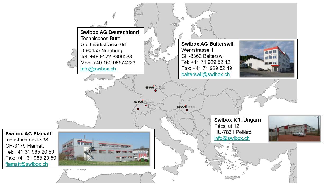 Swibox AG Standorte